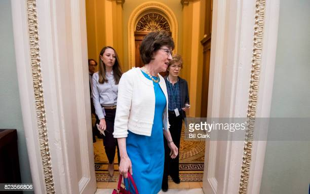 Sen Susan Collins RMaine arrives for the Senate Republicans' lunch in the Capitol on Thursday July 27 2017 The Senate is expected to hold a...