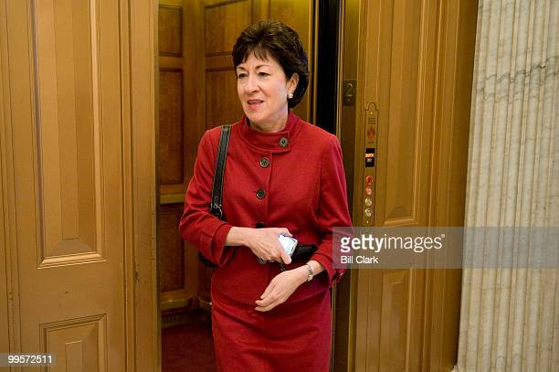 Sen Susan Collins RMaine gets off the elevator on the second floor of the US Capitol as Senators make their way to the policy lunches on Tuesday...
