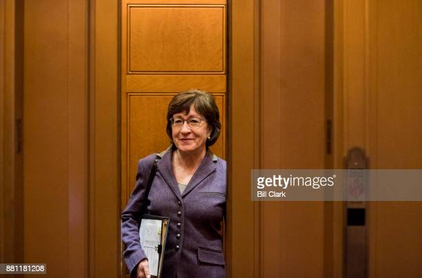 Sen Susan Collins RMaine leaves the Capitol after the Senate Republicans' lunch with President Donald Trump on Tuesday Nov 28 2017