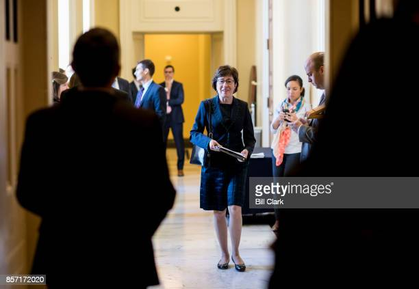 Sen Susan Collins RMaine leaves the Senate Republicans' policy lunch in the Capitol on Tuesday Oct 3 2017