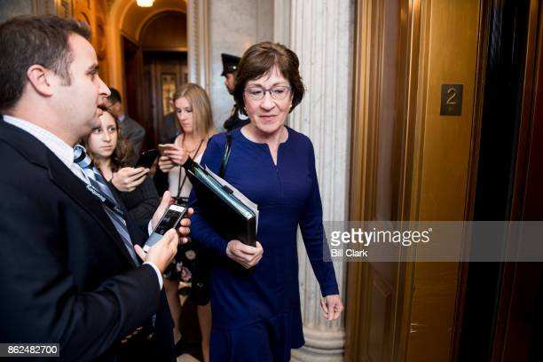 Sen Susan Collins RMaine speaks with reporters as he leaves Senate Republicans' policy lunch on Tuesday Oct 17 2017