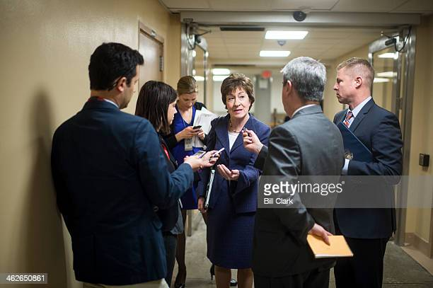 Sen Susan Collins RMaine speaks with reporters as she arrives for the Senate Republicans' policy lunch in the Capitol on Tuesday Jan 14 2014