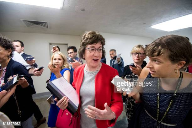Sen Susan Collins RMaine speaks with reporters as she arrives in the Capitol for a vote on Wednesday July 19 2017