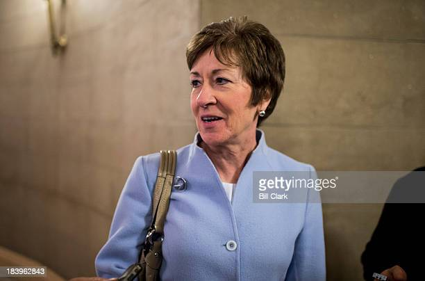 Sen Susan Collins RMaine speaks with reporters as she leaves a Senate Republican caucus meeting in the Capitol on Thursday Oct 10 2013