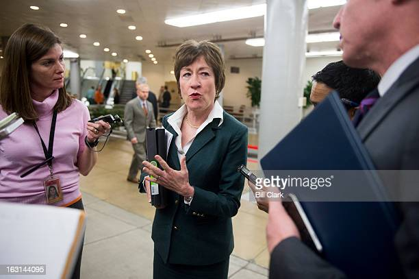 Sen Susan Collins RMaine speaks with reporters as she waits for the Senate subway following the Senate policy lunches on Tuesday March 5 2013