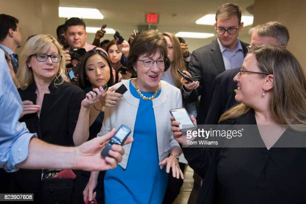 Sen Susan Collins RMaine talks with reporters in the senate subway before a lunch in the Capitol on July 27 2017