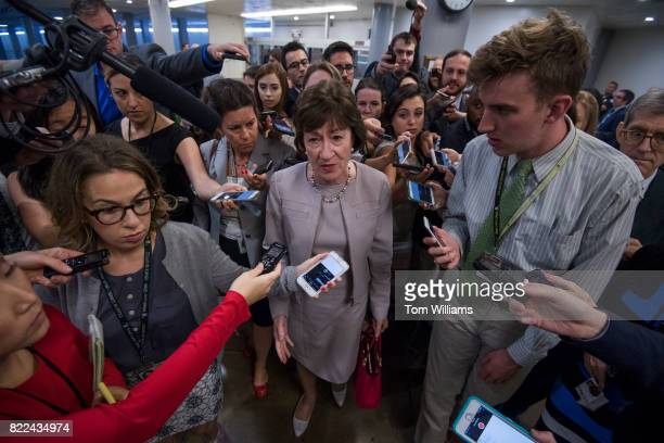 Sen Susan Collins RMaine talks with reporters in the senate subway before the Senate Policy luncheons in the Capitol on July 25 2017