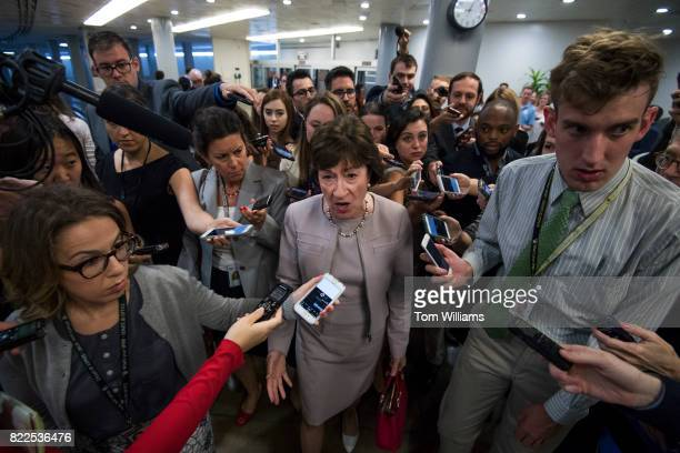 Sen Susan Collins RMe talks with reporters in the senate subway before the Senate Policy luncheons in the Capitol on July 25 2017