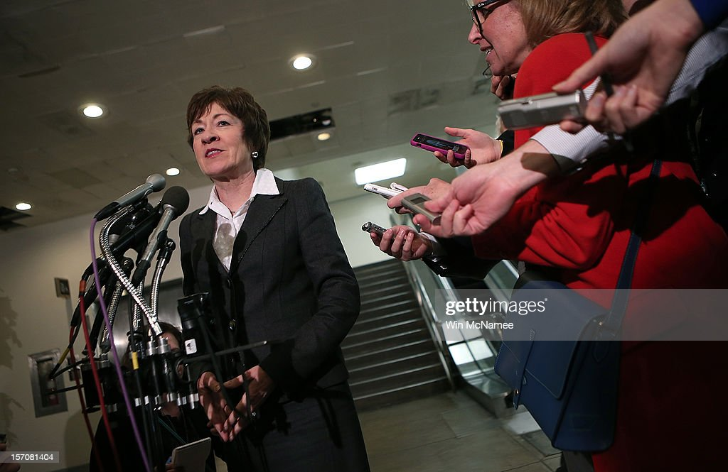 Sen. <a gi-track='captionPersonalityLinkClicked' href=/galleries/search?phrase=Susan+Collins&family=editorial&specificpeople=212962 ng-click='$event.stopPropagation()'>Susan Collins</a> (R-ME) speaks to reporters after meeting with U.S. Ambassador to the United Nations, Susan Rice, at the U.S. Capitol after meeting with members of the U.S. Senate November 28, 2012 in Washington, DC. Rice has been meeting with members of Congress over the past two days to explain her position on remarks made regarding the attack on the U.S. consulate in Benghazi, Libya.