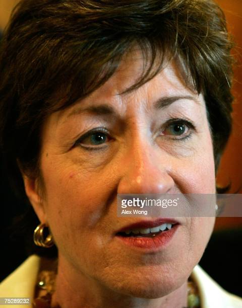 S Sen Susan Collins speaks to reporters on Capitol Hill July 9 2007 in Washington DC The Senate has begun to debate the Defense Authorization bill