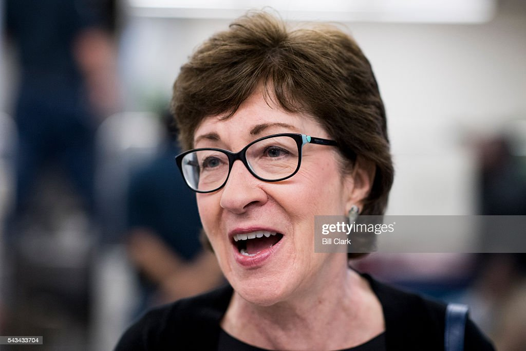 Sen. Susan Collins (R-ME) speaks with a reporters as she leaves the Senate Republicans' policy luncheon on Tuesday, June 28, 2016.