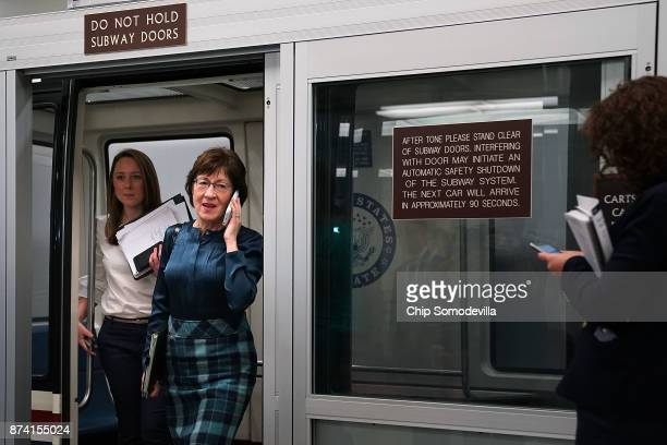 Sen Susan Collins steps off the Senate subway as she heads for the GOP policy luncheon at the US Capitol November 14 2017 in Washington DC Senate...