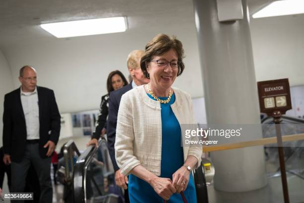 Sen Susan Collins walks through the Senate subway on his way to an amendment vote on the GOP heath care legislation on Capitol Hill July 27 2017 in...