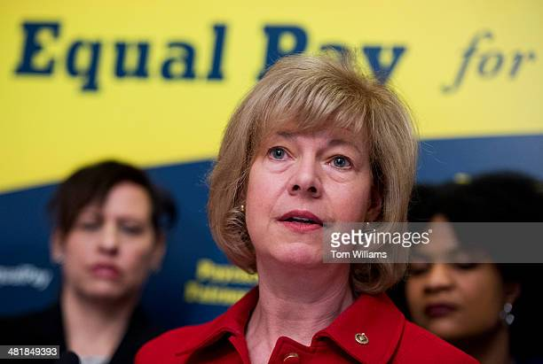 Sen Tammy Baldwin DWis speaks during a news conference in the Capitol to urge the Senate to pass the Paycheck Fairness Act which will help close the...