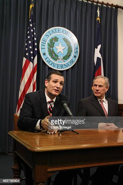 S Sen Ted Cruz and Governor Greg Abbott hold a joint press conference February 18 2015 in Austin Texas The press conference addressed the United...