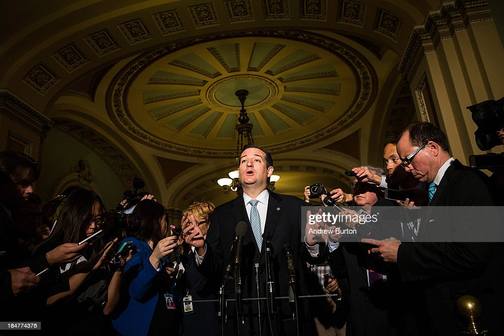 Sen Ted Cruz answers questions from the media after meeting with Republican senators regarding a bipartisan solution for the pending budget and debt...