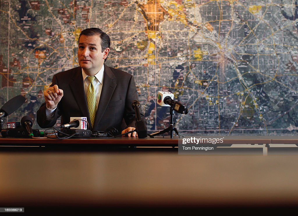 U.S. Sen. Ted Cruz (R-TX) answers questions from the media after meeting with small business owners during the Fort Worth Small Business Roundtable on October 22, 2013 in Fort Worth, Texas. In the wake of the government shutdown, Cruz warned that the tea party shouldnt be dismissed by Washington political power players.