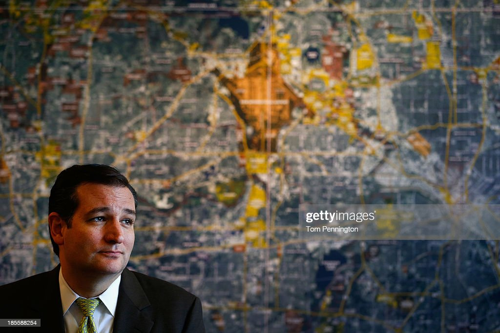 U.S. Sen. <a gi-track='captionPersonalityLinkClicked' href=/galleries/search?phrase=Ted+Cruz&family=editorial&specificpeople=7222093 ng-click='$event.stopPropagation()'>Ted Cruz</a> (R-TX) answers questions from the media after meeting with small business owners during the Fort Worth Small Business Roundtable on October 22, 2013 in Fort Worth, Texas. In the wake of the government shutdown, Cruz warned that the tea party shouldnt be dismissed by Washington political power players.