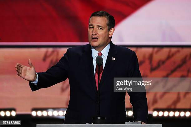 Sen Ted Cruz delivers a speech on the third day of the Republican National Convention on July 20 2016 at the Quicken Loans Arena in Cleveland Ohio...