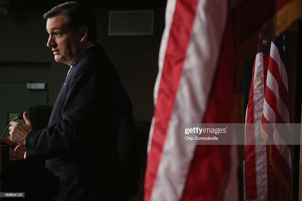 Sen. <a gi-track='captionPersonalityLinkClicked' href=/galleries/search?phrase=Ted+Cruz&family=editorial&specificpeople=7222093 ng-click='$event.stopPropagation()'>Ted Cruz</a> (R-TX) holds a news conference to announce their plan to defund the Patient Protection and Affordable Care Act, also known as Obamacare, at the U.S. Capitol March 13, 2013 in Washington, DC. Although Cruz and his fellow sponsors expect the legislation to fail, they believe it is an important survey of who supports health care reform.