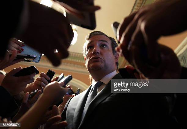 S Sen Ted Cruz is surrounded by members of the media after he viewed the details of a new health care bill July 13 2017 at the Capitol in Washington...