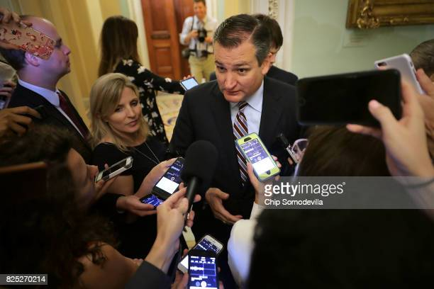 Sen Ted Cruz is surrounded by reporters before heading into the Senate Republican policy luncheon at the US Capitol August 1 2017 in Washington DC...