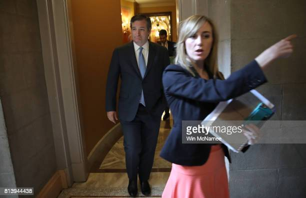 Sen Ted Cruz leaves a meeting of Republican senators where a new version of their healthcare bill was scheduled to be released at the US Capitol July...