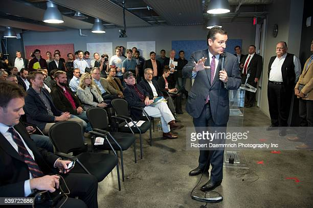 US Sen Ted Cruz of Texas blasts an Obama plan to further regulate the Internet during a gathering at Capital Factory technology incubator in downtown...