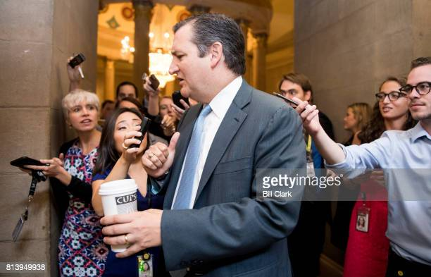 Sen Ted Cruz RTexas arrives for the meeting for the unveiling of the Senate Republicans' new version of health care plan on Thursday July 13 2017
