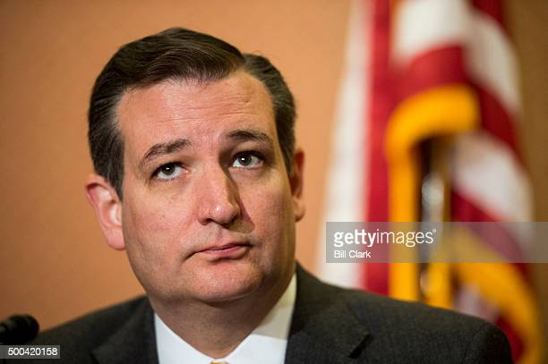 Sen Ted Cruz RTexas holds a news conference with Gov Greg Abbott RTexas in the US Capitol to discuss Syrian refugee legislation on Tuesday Dec 8 2015