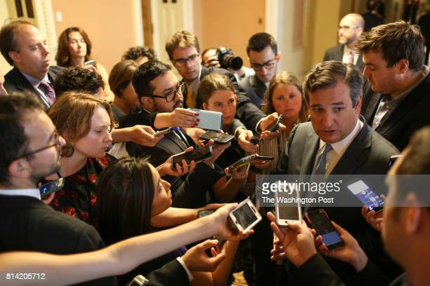 Sen Ted Cruz RTexas speaks to members of the media after announcing the revised version of the Republican health care bill on Capitol Hill in...