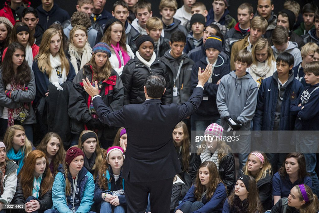 Sen. Ted Cruz, R-Texas, speaks to students from the Prestonwood Christian Academy of Plano, Texas, in the atrium of the Hart Senate Office Building on Wednesday, March 6, 2013.