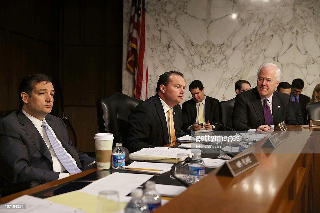 Sen Ted Cruz Sen Michael Lee and Sen John Cornyn participate in a Senate Judiciary Committee hearing on April 22 2013 in Washington DC The committee...
