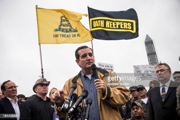 Sen Ted Cruz speaks at a rally supported by military veterans Tea Party activists and Republicans regarding the government shutdown on October 13...
