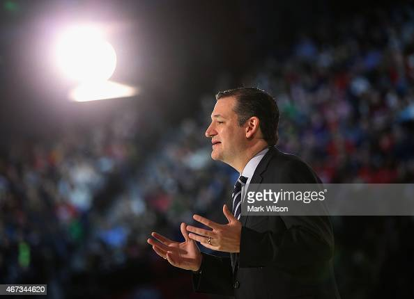 S Sen Ted Cruz speaks to a crowd gathered at Liberty University to announce his presidential candidacy March 23 2015 in Lynchburg Virginia Cruz...
