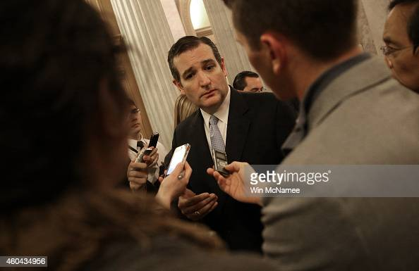 S Sen Ted Cruz speaks with reporters after the US Senate voted to approve a $11 trillion omnibus funding bill December 13 2014 in Washington DC...