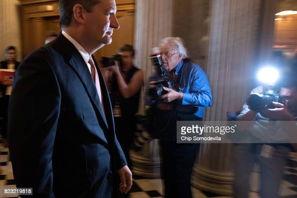 Sen Ted Cruz walks to the Senate Chamber for a vote in the US Capitol July 26 2017 in Washington DC GOP efforts to pass legislation to repeal and...