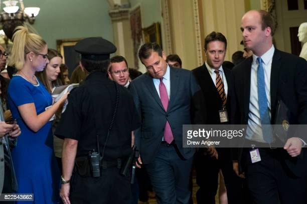 Sen Ted Cruz walks to the Senate floor for a procedural vote on the GOP heath care plan on Capitol Hill July 25 2017 in Washington DC The Senate...