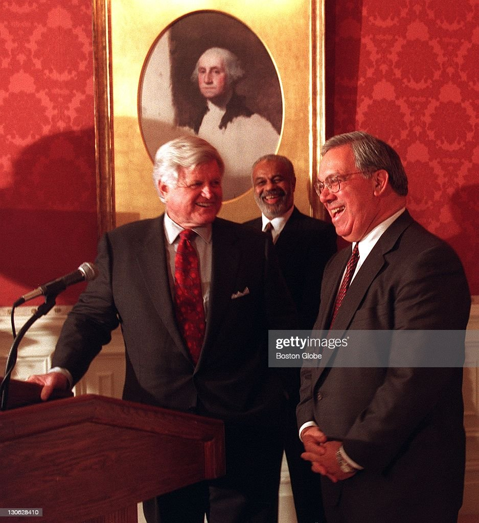 Sen. Ted Kennedy, attorney Fletcher 'Flash' Wiley and Mayor Tom Menino share a laugh while announcing that Boston is a finalist for the site of the Democratic National Convention in 2000.