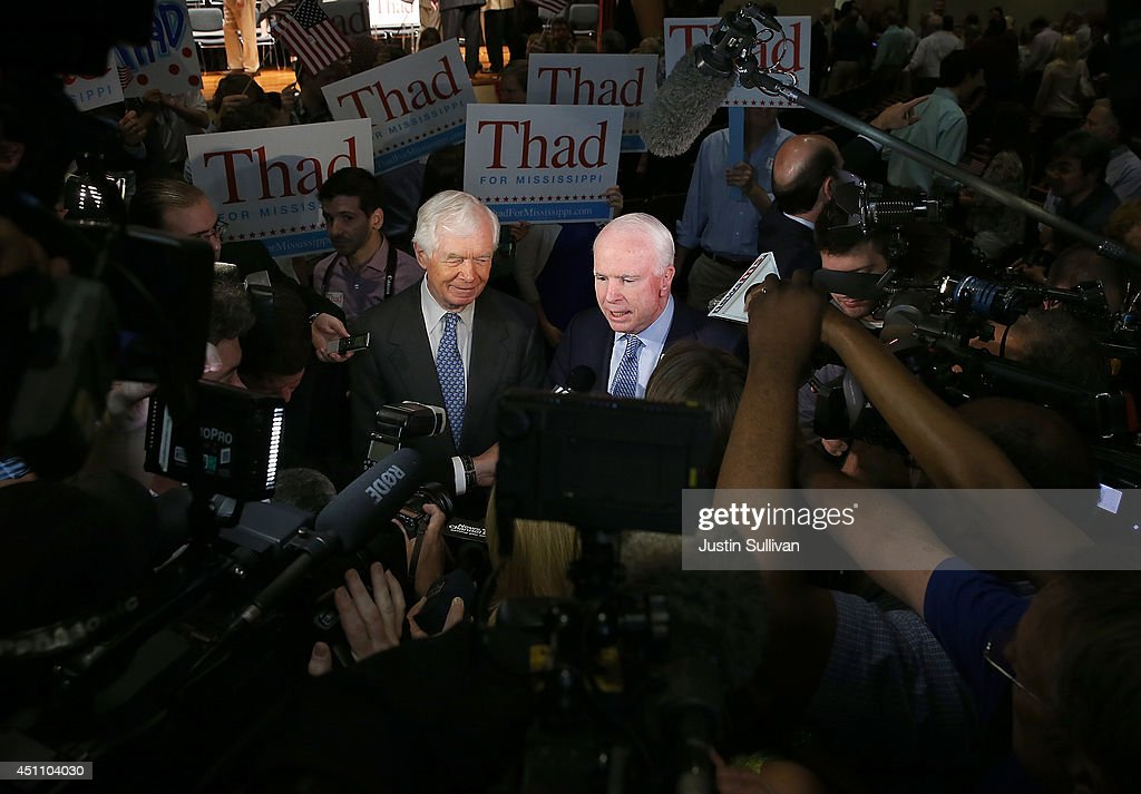 S Sen Thad Cochran and US Sen John McCain speak to members of the media after a campaign rally at Mississippi War Memorial Building on June 23 2014...