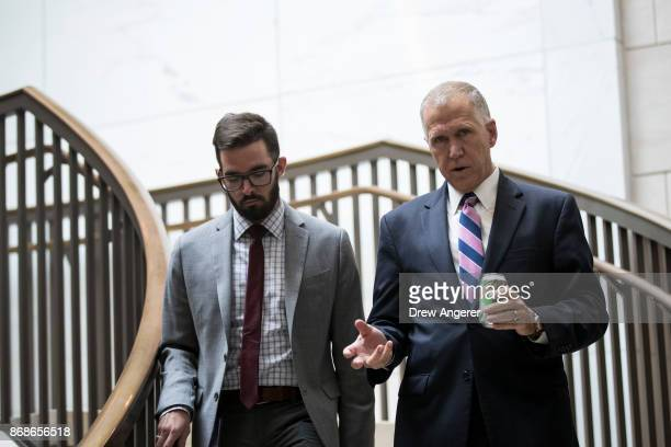 Sen Thom Tillis walks to a closed briefing about recent Navy collisions at sea October 31 2017 in Washington DC Members of the Senate Armed Services...