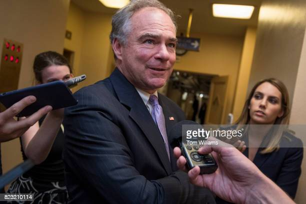 Sen Tim Kaine DVa talks with reporters in the senate subway before a series of votes in the Capitol related to the healthcare plan on July 26 2017