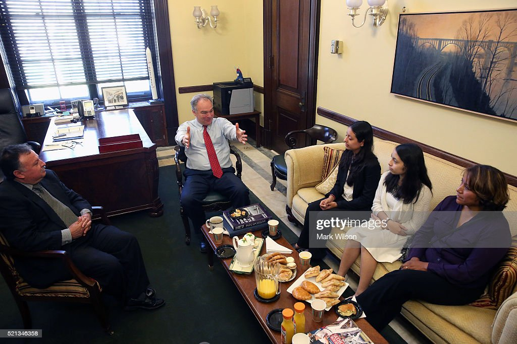Sen. Tim Kaine (D-VA), (C), meets with the Orellana family of Arlington, Virginia, in anticipation of next weeks oral arguments in U.S. v. Texas at the Supreme Court, on Capitol Hill, April 15, 2016 in Washington, DC. The Orellana family is originally from Bolivia and is a mixed status family that stands to benefit from President Obamas November 2014 executive actions on immigration , the Deferred Action for Children Arrivals (DACA). Seated (L-R), father, Wilson Orellana, daughters, Rebeca and Marisol Orellana, and his wife Roxana Orellana.