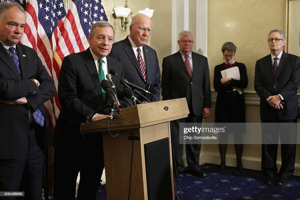 Sen. Tim Kaine (D-VA), Senate Democrat Whip Richard Durbin (D-IL) and Sen. Patrick Leahy (D-VT) hold a news conference with national religious leaders to respond to attempts at vilifying refugees and call on lawmakers to engage in policymaking and not 'fear-mongering' at the U.S. Capitol December 8, 2015 in Washington, DC. Following last week's mass shooting in San Bernardino, California, leading Republican presidential candidate Donald Trump called on Monday for the United States to bar all Muslims from entering the country.