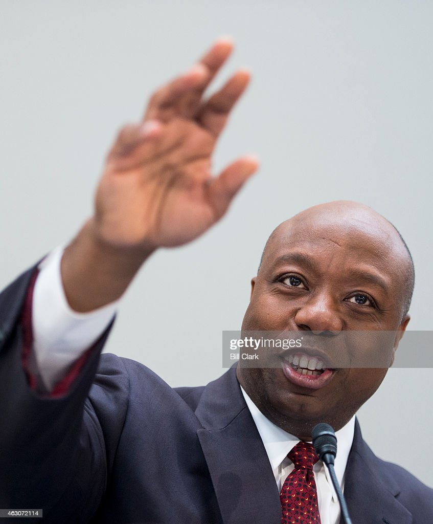Sen. <a gi-track='captionPersonalityLinkClicked' href=/galleries/search?phrase=Tim+Scott+-+Politicus&family=editorial&specificpeople=12898323 ng-click='$event.stopPropagation()'>Tim Scott</a>, R-S.C., holds his National School Choice Forum on 'Choosing Excellence: A Forum on the Freedom to Choose Academic Excellence for Every Child' in the Hart Senate Office BUilding on Monday, Feb. 9, 2015