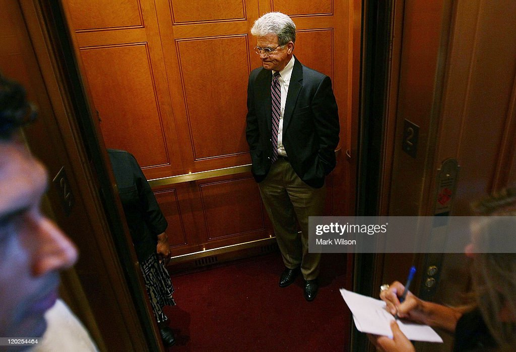 U.S. Sen. <a gi-track='captionPersonalityLinkClicked' href=/galleries/search?phrase=Tom+Coburn&family=editorial&specificpeople=568690 ng-click='$event.stopPropagation()'>Tom Coburn</a> (R-OK), rides an elevator following the vote to raise the dept limit at the U.S. Capitol on August 2, 2011 in Washington, DC. Washington, DC. The Senate voted 74-26 to approve the bill to raise the debt ceiling, allowing the U.S. to avoid default on its debts.