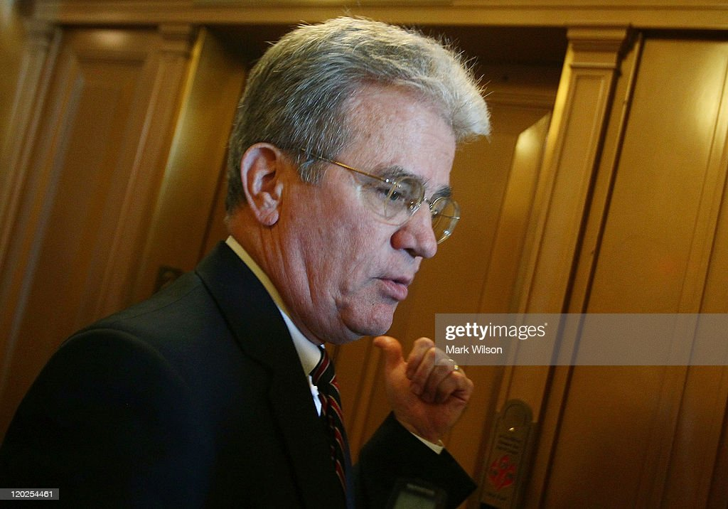 U.S. Sen. <a gi-track='captionPersonalityLinkClicked' href=/galleries/search?phrase=Tom+Coburn&family=editorial&specificpeople=568690 ng-click='$event.stopPropagation()'>Tom Coburn</a> (R-OK) speaks to a reporter following the vote to raise the dept limit at the U.S. Capitol on August 2, 2011 in Washington, DC. Washington, DC. The Senate voted 74-26 to approve the bill to raise the debt ceiling, allowing the U.S. to avoid default on its debts.