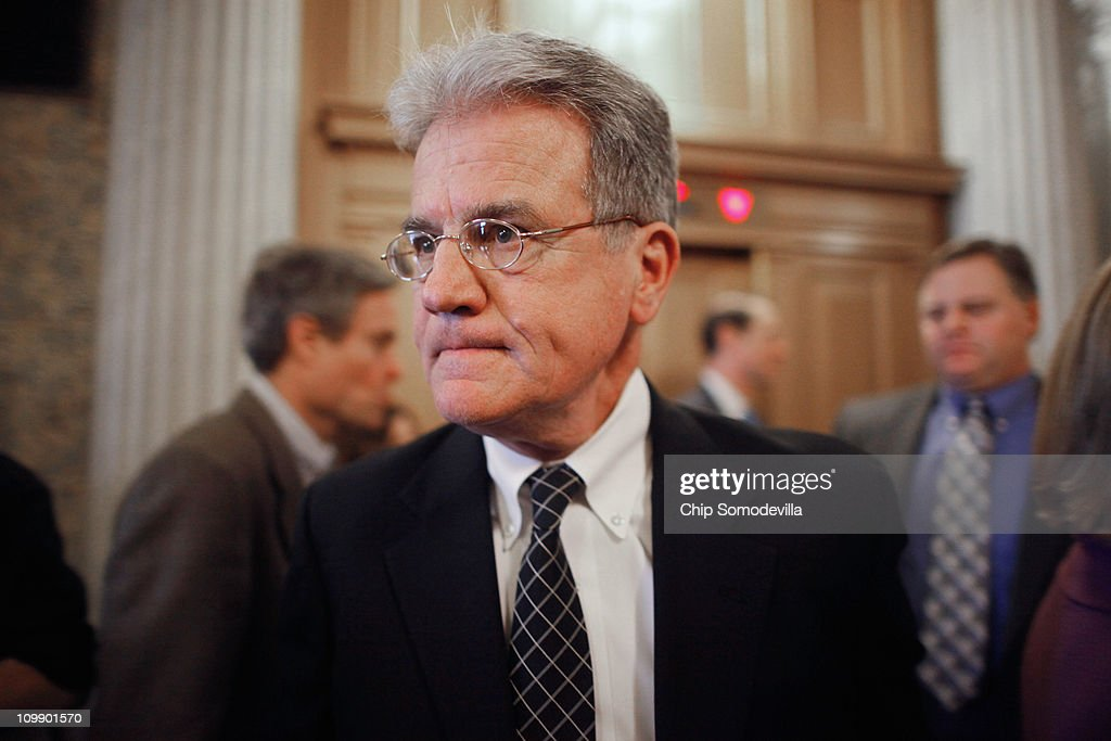 U.S. Sen. <a gi-track='captionPersonalityLinkClicked' href=/galleries/search?phrase=Tom+Coburn&family=editorial&specificpeople=568690 ng-click='$event.stopPropagation()'>Tom Coburn</a> (R-OK) walks off the floor after the Senate failed to pass legislation approved last month by the House that would cut $57 billion from the federal budget at the U.S. Capitol March 9, 2011 in Washington, DC. Lawmakers must agree to another spending bill by March 18 when the current temporary budgetary measure expires.