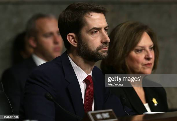 S Sen Tom Cotton and Sen Deb Fischer listen during a hearing before Senate Armed Services Committee February 9 2017 on Capitol Hill in Washington DC...