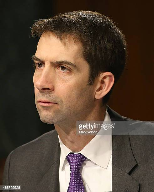 Sen Tom Cotton attends a Senate Armed Services Committee hearing on Capitol Hill March 18 2015 in Washington DC The committee was hearing testimony...